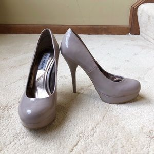 Patent taupe round toe pump high heels